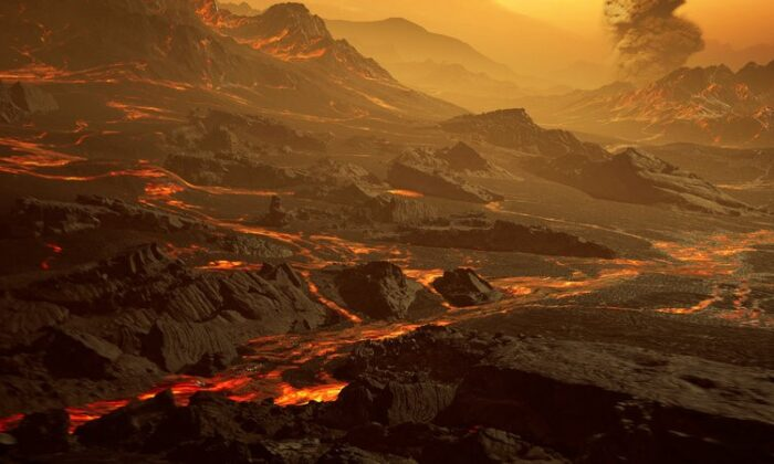 Representación artística de la superficie de la recién descubierta supertierra caliente Gliese 486b. (RenderArea)
