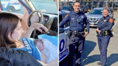 Mujer nombra a su bebé en honor a los policías que le ayudaron en su parto en la carretera