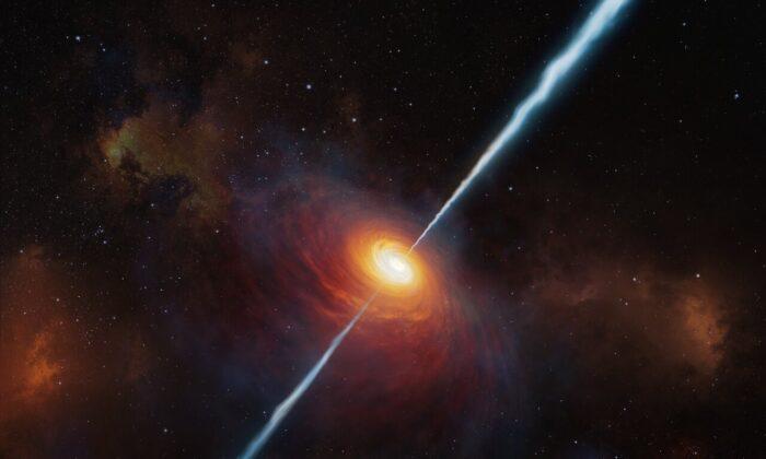 Una ilustración del quásar P172 + 18. (ESO / M. Kornmesser)