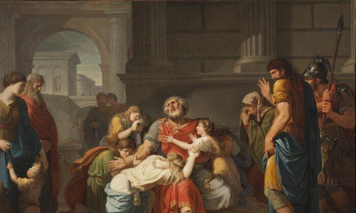 """Edipo elige su destino de estar ciego. """"Edipo ciego encomendando sus hijos a los dioses"""", 1784, por Bénigne Gagneraux. Museo Nacional, Estocolmo. (Dominio público)"""