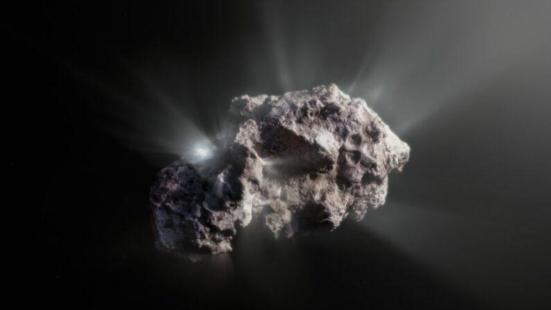 Esta imagen muestra una impresión artística de cómo podría ser la superficie del cometa 2I/Borisov. (Cortesía del Observatorio Europeo Austral/M. Kormesser)