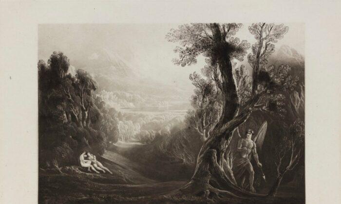 """Satanás hace la primera pregunta en la Biblia. """"Satán observa a Adán y Eva en el Jardín del Edén"""", 1825, por John Martin en una ilustración para """"El Paraíso Perdido"""". (Dominio público)"""