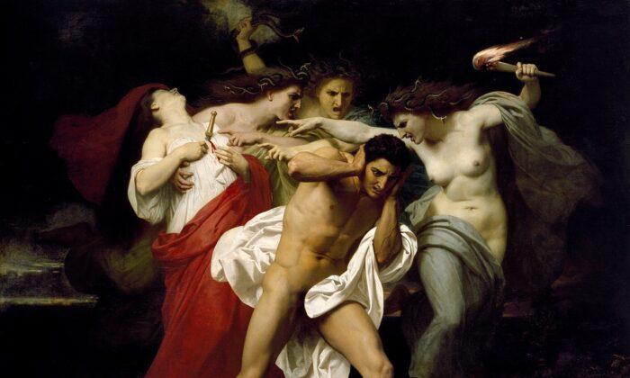 """Orestes perseguido por las furias"", 1862, de William-Adolphe Bouguereau. Óleo sobre lienzo, 91 pulgadas por 109 ⅝ pulgadas. Museo Chrysler, Norfolk, Va. (Dominio público)"