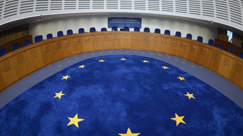 La sala de audiencias del Tribunal Europeo de Derechos Humanos en Estrasburgo, este de Francia, el 23 de abril de 2015. (Patrick Hertzog/AFP vía Getty Images)