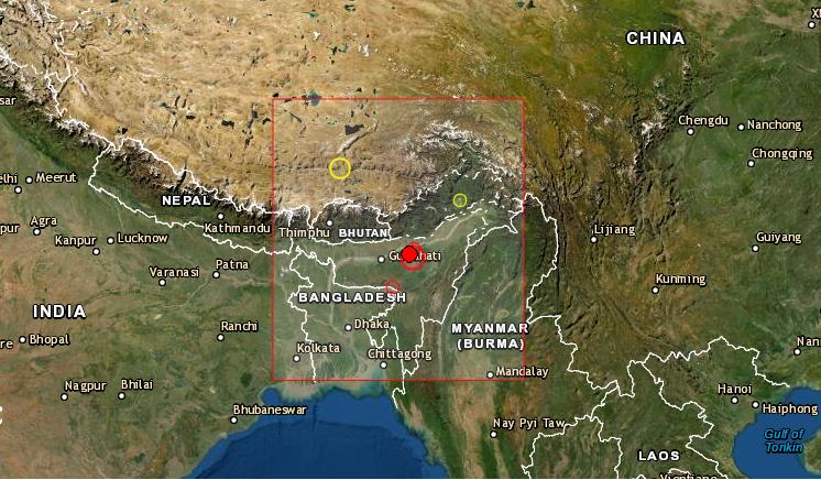 El terremoto de magnitud 6.4 se produjo hacia las 7.51 (2.25 GMT) este miércoles 28 de abril de 2021 en el distrito de Sonitpur en Assam (India), a unos 17 kilómetros de profundidad, según informó el Centro Nacional de Sismología (NCS). Foto de EMSC
