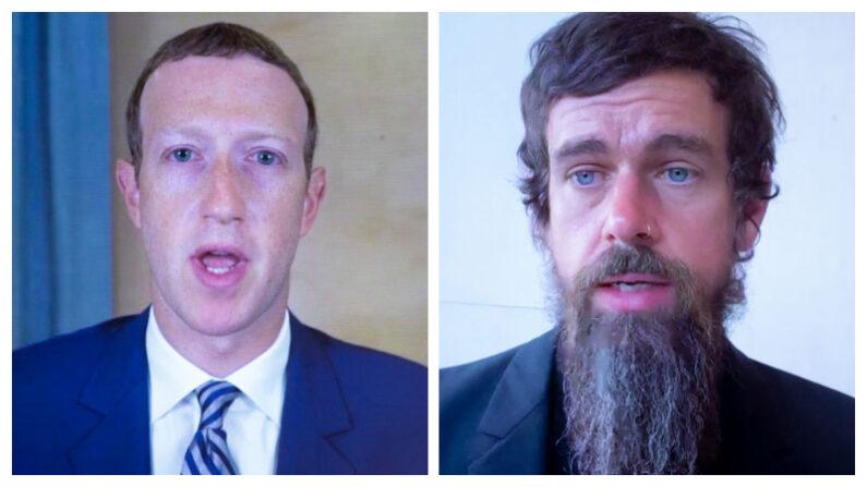 (I) El CEO de Facebook, Mark Zuckerberg,y (D) el CEO de Twitter, Jack Dorsey,  el 28 de octubre de 2020 en Washington, DC. (Michael Reynolds-Pool/Getty Images)