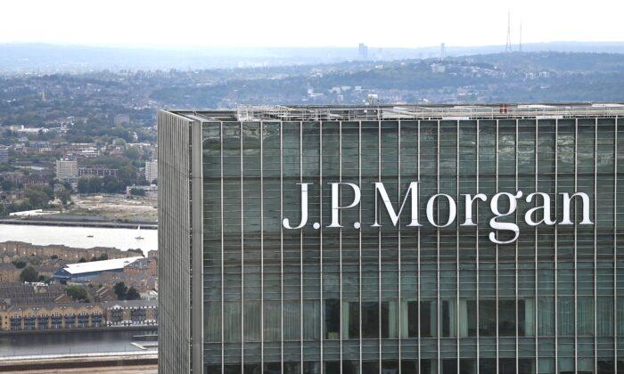 Las oficinas de la banca de inversión J.P. Morgan, en Londres, Inglaterra, el 2 de septiembre de 2020. (DANIEL LEAL-OLIVAS/AFP a través de Getty Images)