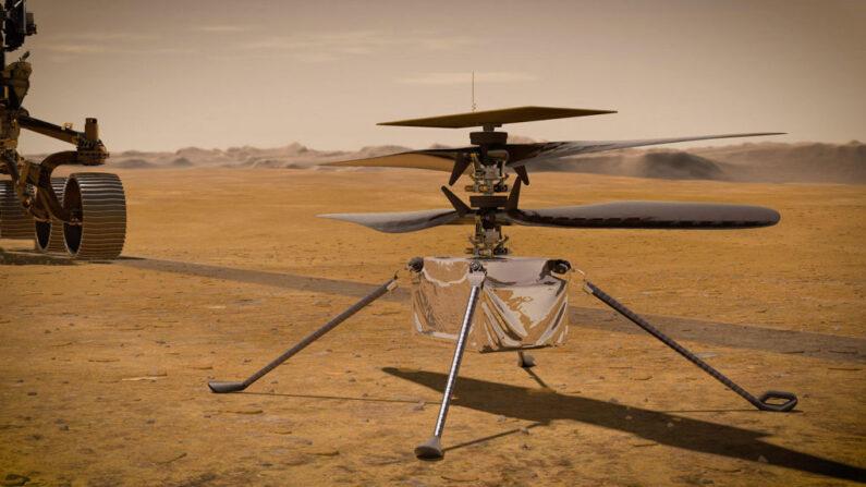 En esta ilustración conceptual proporcionada por la NASA, el helicóptero Ingenuity Mars de se encuentra en la superficie de Marte mientras el rover Perseverance Marte 2020 (parcialmente visible a la izquierda) se aleja. El rover dejará almacenadas muestras de roca y suelo en tubos sellados en la superficie del planeta para que las futuras misiones las recuperen. (Fotografía de la NASA vía Getty Images)