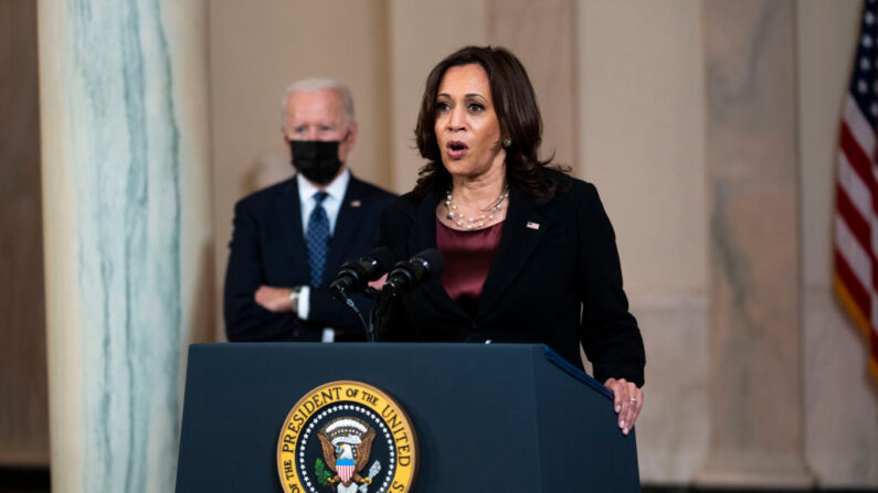 La vicepresidenta de EE.UU. Kamala Harris (d). (Doug Mills-Pool/Getty Images)