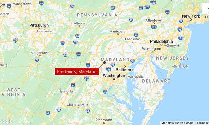 Un mapa que muestra la ubicación de un tiroteo en Frederick, Maryland, el 6 de abril de 2021. (Google Maps)