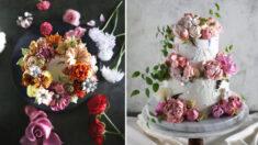 Pastelera convierte tortas en obras de arte con ramos de flores realistas de crema de mantequilla