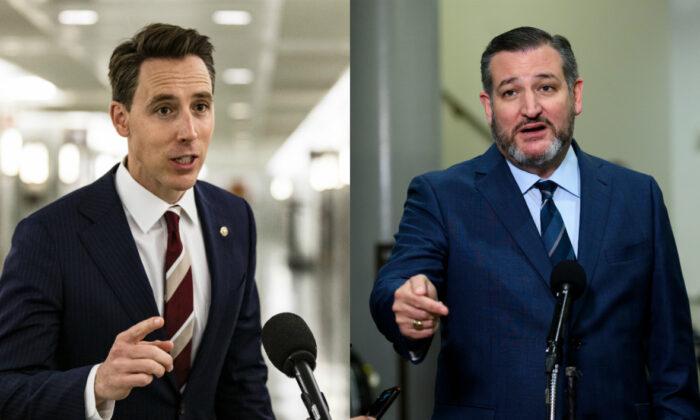 Los senadores Josh Hawley (R-Mo.) Y Ted Cruz (R-Texas) en fotografías de archivo. (Imágenes falsas)