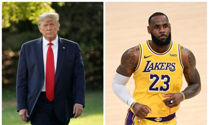 (Izquierda) El entonces presidente Donald Trump en D.C. el 16 de septiembre de 2019. (Mandel Ngan/Getty Images) (Derecha) LeBron James en Los Ángeles, California, el 6 de febrero de 2021. (Harry How/NBAE vía Getty Images)