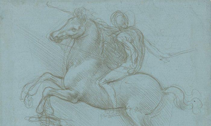 Leonardo da Vinci esperaba que su mayor logro fuera un enorme monumento ecuestre. Un diseño para el monumento, hacia 1485-8. Punta de metal sobre papel azul preparado. (Royal Collection Trust/(c) Her Majesty Queen Elizabeth II 2018)
