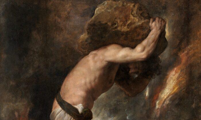 """Un detalle de """"Sísifo"""" de Tiziano. Óleo sobre lienzo, 93,3 pulgadas por 85 pulgadas. Museo del Prado, Madrid, España. (Dominio público)"""