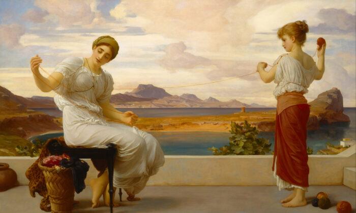 """""""Enrollando la madeja"""", alrededor de 1878, de Frederic Leighton. Óleo sobre lienzo, 39,4 por 63,5 pulgadas. Galería de Arte de Nueva Gales del Sur, Sydney, Australia. (Dominio público)"""