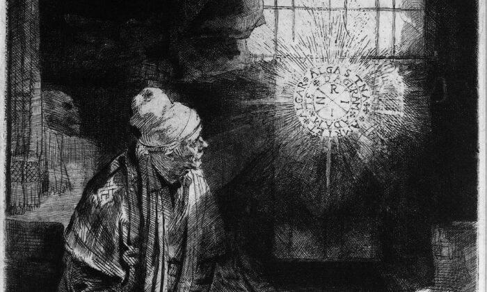 """Al vender su alma al Diablo, Fausto accede al conocimiento esotérico. Un detalle de """"Fausto"""", alrededor de 1652, de Rembrandt. Rijksmuseum, Amsterdam, Países Bajos. (Dominio público)"""