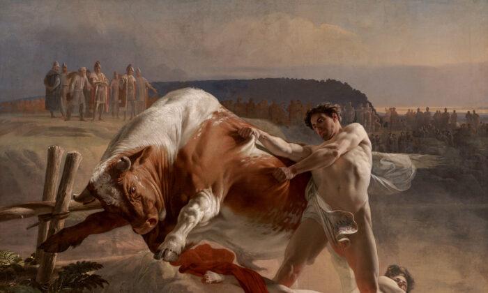 "Detalle de ""Ian Usmovets deteniendo a un toro furioso"", 1849, de Evgraf Semenovich Sorokin. Museo de Arte del Lejano Oriente, Khabarovsk, Rusia. (Dominio público)"