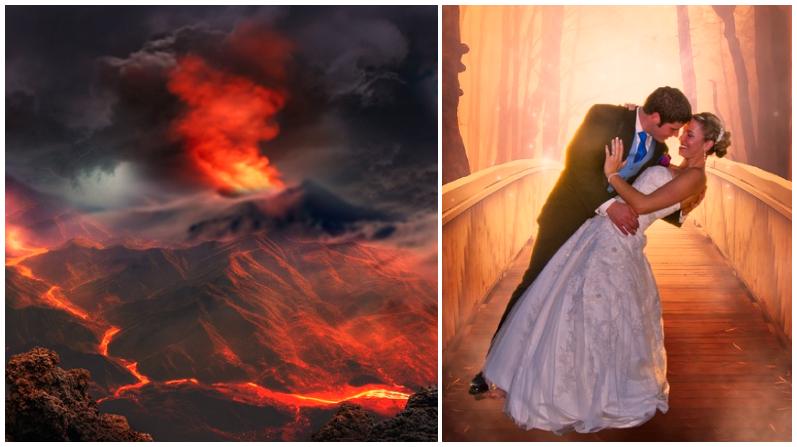 Jóvenes sellan su fogoso amor comprometiéndose frente a un volcán en erupción en Islandia