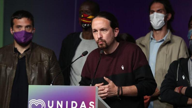 El líder de Unidas Podemos, Pablo Iglesias, comparece ante los medios el martes 4 de mayo de 2021 en la sede del partido, en Madrid (España), tras conocer los resultados de las elecciones a la Comunidad de Madrid. EFE/Kiko Huesca