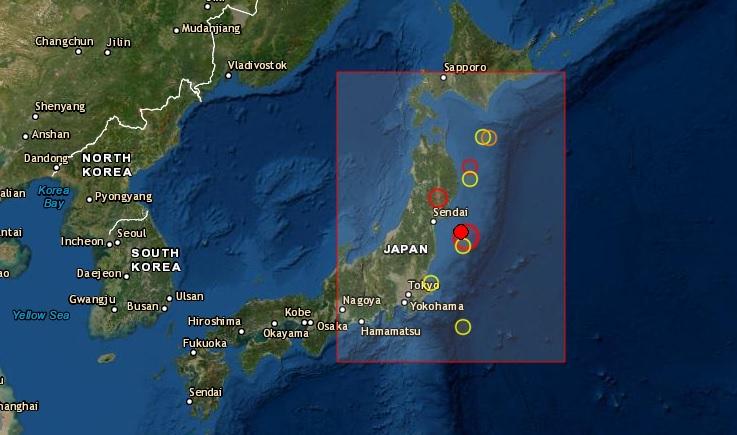 Un terremoto de magnitud 6.8 sacudió este sábado 1 de mayo de 2021 el noreste de Japón, sin que las autoridades niponas emitieran una alerta de tsunami ni se produjeran daños materiales. Foto de EMSC