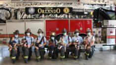"""""""De luchar contra el fuego a los chupones"""": Bomberos posan en tierna sesión de fotos junto a sus 7 bebés"""
