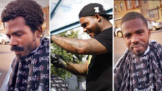 Barbero de Filadelfia corta el pelo gratis a veterano sin hogar, ¡su sonrisa lo dice todo!
