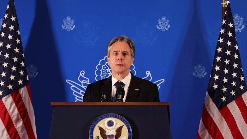El secretario de Estado de EE. UU., Antony Blinken, el 4 de Junio 2021. (EFE/EPA/RONEN ZVULUN/POOL/Archivo)