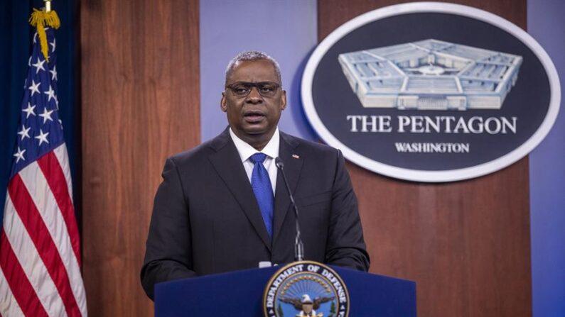 Conferencia de prensa del secretario de Defensa estadounidense, Lloyd Austin, en la Saca Blanca en Washington DC. EFE/EPA/Shawn Thew/Archivo