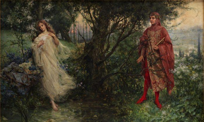 """""""Dante y Beatriz"""", 1906, de Salvatore Postiglione. Beatrice guía a Dante por el cielo, explica que las creaciones de Dios, exiliadas en la tierra, anhelan volver a su lugar de origen. (Dominio público)"""