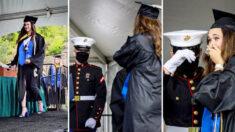 Marine de EE.UU. aparece inesperadamente en ceremonia de graduación de su hermana mayor