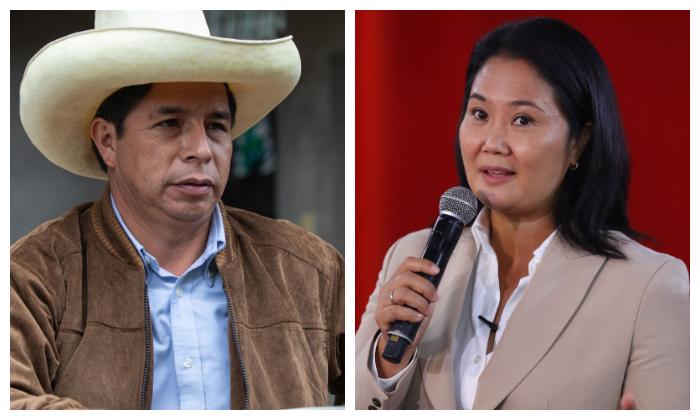 El candidato presidencial de izquierda Pedro Castillo (i) y la candidata derechista Keiko Fujimori. (Angela Ponce/Getty Images; Leonardo Fernandez/Getty Images)