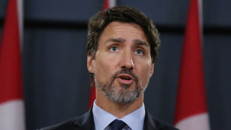 El primer ministro canadiense Justin Trudeau habla en una conferencia de prensa el 17 de enero de 2020 en Ottawa, Canadá. (Dave Chan / AFP vía Getty Images)