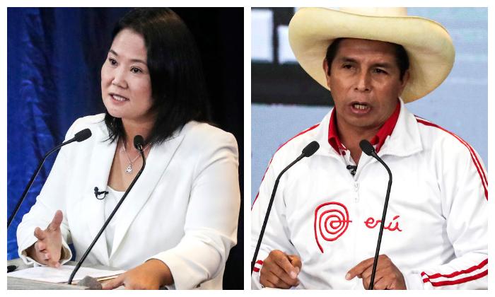 Los candidatos Keiko Fujimori y Pedro Castillo durante un debate organizado por el Jurado Nacional Electoral el 30 de mayo de 2021 en Arequipa, Perú. (Sebastian Castañeda-Pool/Getty Images)