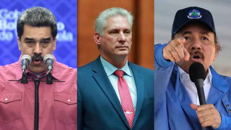 (I a d): Una combinación de fotografías de los líderes Nicolás Maduro de Venezuela (Carolina Cabral/Getty Images), Miguel Díaz Canel de Cuba (Héctor Vivas/Getty Images) y Daniel Ortega de Nicaragua (Inti Ocon/AFP vía Getty Images)