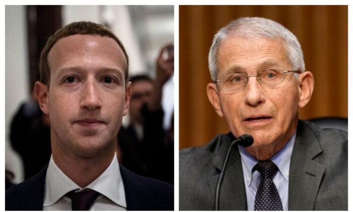 Mark Zuckerberg y el Dr. Anthony Fauci. (Brendan Smialowski/AFP/Getty Images; Greg Nash-Pool/Getty Images)