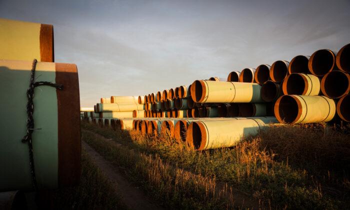 Unas tuberías sin usar, preparadas para el entonces propuesto oleoducto Keystone XL, en un lote el 14 de octubre de 2014 en las afueras de Gascoyne, Dakota del Norte. (Andrew Burton/Getty Images)