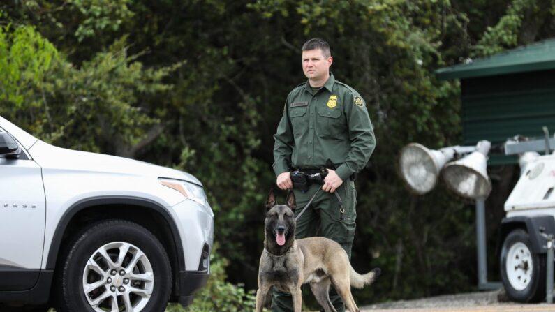 Los agentes de la Patrulla Fronteriza y K-9 inspeccionan vehículos en el puesto de control de la Patrulla Fronteriza de Javier Vega, Jr. en Sarita, Texas, el 20 de marzo de 2019. (Charlotte Cuthbertson/The Epoch Times)