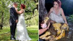 Mujer abandona la recepción de su boda para ayudar a una vaca a parir, aún con su vestido de novia