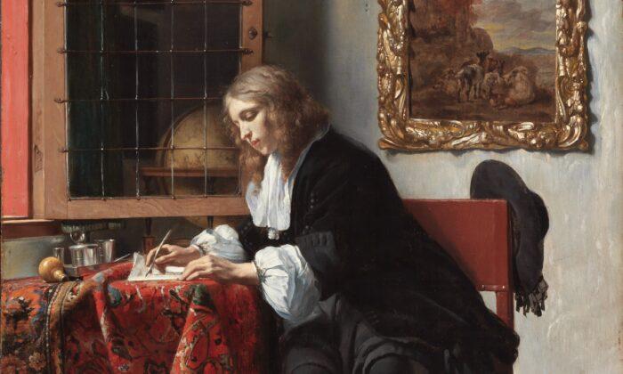 """La poesía clásica no solo la escribieron los que murieron hace tiempo. Detalle del cuadro de Gabriel Metsue """"Hombre escribiendo una carta"""", 1665. Galería Nacional de Irlanda. (Dominio público)"""