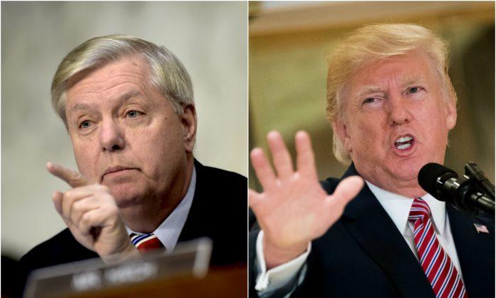 El senador Lindsey Graham (R-S.C.) y el entonces presidente de EE.UU. Donald Trump (de). (Brendan Smialowski/AFP/Getty Images y Drew Angerer/Getty Images)