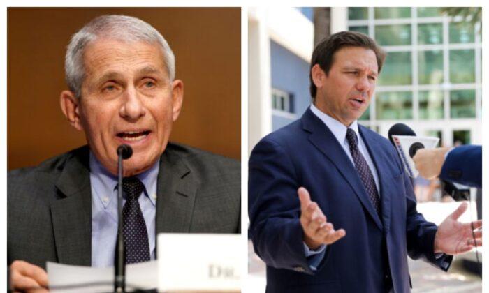 Dr. Anthony Fauci (Izq.) y el gobernador de Florida, Ron DeSantis (Der.). (Greg Nash/Pool a través de Reuters; Samira Bouaou/The Epoch Times)