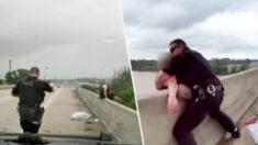 """Policías de Luisiana y un transeúnte salvan a mujer de saltar de un puente en un """"esfuerzo de equipo"""""""