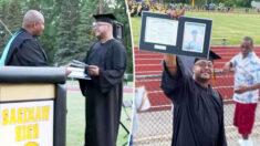 """Hombre de Michigan recibe diploma de bachillerato de su hijo fallecido: """"Fue un honor y un privilegio"""""""