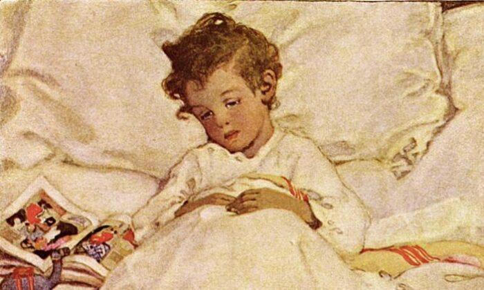 """Parte de una ilustración en acuarela para el poema """"En el país de la colcha"""", en la edición de 1905 de """"El jardín de los versos de un niño"""", de Robert Louis Stevenson. (Dominio público)"""