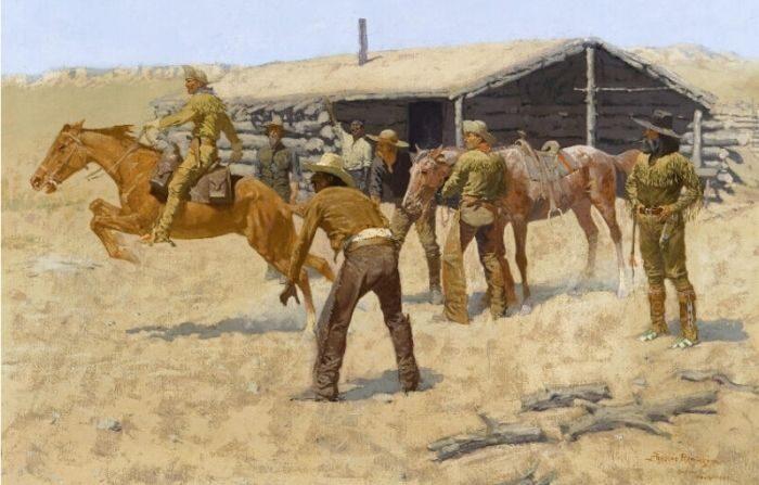 """""""El ir y venir del Pony Express"""" (1900) de Frederic Remington. (Dominio público)"""