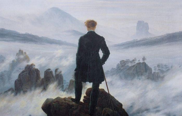 Todo lo que evoca una hermosa sensación de asombro se puede llamar sublime. Un detalle de 'Wanderer Above the Sea of Fog' de Casper David Friedrich. (Dominio público)
