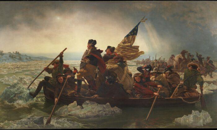 """""""Washington cruzando el Delaware"""", 1851, por Emanuel Leutze. Óleo sobre lienzo, 12.4 pies por 21.2 pies. Museo Metropolitano de Arte, Nueva York. (Dominio publico)"""