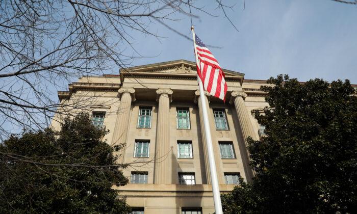El edificio del Departamento de Justicia en Washington el 2 de enero de 2020. (Samira Bouaou/The Epoch Times)