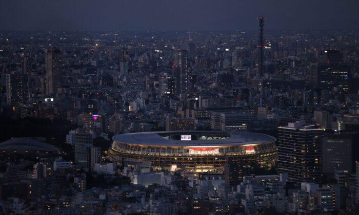 El Estadio Olímpico de Tokio se muestra desde el Shibuya Sky Deck en Tokio, Japón, el 22 de julio de 2021. (Carl Court/Getty Images)